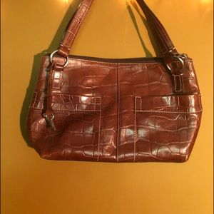 Fossil Brown leather alligator look purse